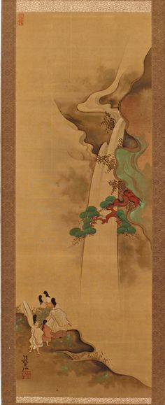 The Poet Narihira Views the Waterfall by Ogata Kôrin, early 18th century