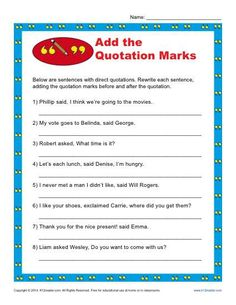 Add the Quotation Marks - Free, Printable Worksheet Lesson Activity 5th Grade Writing, Teaching Second Grade, Have Fun Teaching, 3rd Grade Reading, 2nd Grade Math, Teaching Writing, Teaching Character, Fourth Grade, Teaching English
