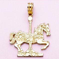 Amazon.com: 14k Gold Novelty Animal Necklace Charm Pendant, Carousel Horse: Million Charms: Jewelry