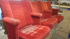 Set of three vintage cinema seats in Antiques, Antique Furniture, Chairs | eBay