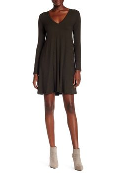 Ribbed Long Sleeve Shift Dress by Lush on @nordstrom_rack