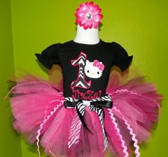#MC Zebra Black Hello Kitty Birthday Tutu Outfit by PoshBabyStore.com....really want this for jaleesa's first bday