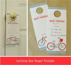 Fourth of July Bike Parade Invitation Printable: Door Hanger- Include a Bike ride in your 4th of July BBQ Party!- Free pdf download! 4th Of July Parade, Fourth Of July Food, July 4th, Printable Invitations, Printables, Bike Decorations, Bike Parade, Neighborhood Party, Let Freedom Ring