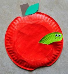 paper plate apple kids crafts -fall kid crafts crafts for ki. Autumn Crafts, Fall Crafts For Kids, Toddler Crafts, Craft Kids, September Kids Crafts, Winter Craft, Bee Crafts, Easy Crafts, Arts And Crafts