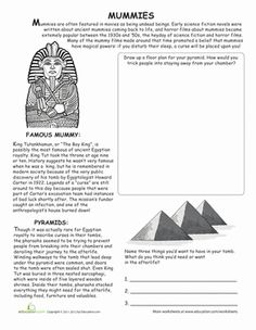 Unwrap the history behind a spooky Halloween favorite: mummies! With this reading worksheet, your child will learn all about mummies and their purpose in ancient Egyptian culture. Then your child will enjoy a coloring exercise! 6th Grade Social Studies, Teaching Social Studies, Teaching History, Teaching Resources, Halloween Worksheets, Worksheets For Kids, Writing Worksheets, Seasons Worksheets, Halloween Printable