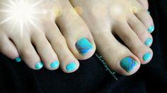 Green blue toe nails