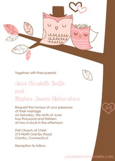 Wedding Owls Invitation with Cute Bride and Groom Owls