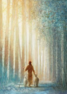 jesus christ walking with two lambs in a forest of tall trees Images Du Christ, Pictures Of Jesus Christ, Lds Art, Bible Art, Jesus Art, God Jesus, Art Prophétique, Arte Lds, Image Jesus