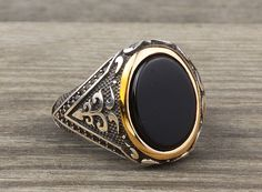 925 K Sterling Silver Man Ring Black Onyx Gemstone 10,75 US Size #istanbuljewelry #Cluster