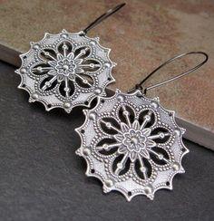 cool Silver Gypsy earrings Boho Bohemian earrings Bohemian Jewelry Everyday jewelry silver earrings