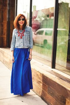A Gap denim jacket and skirt as featured on the blog Glitterary.