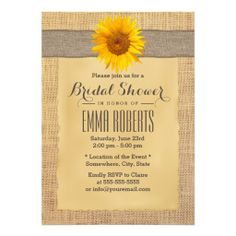 Country Sunflowers Burlap Bridal Shower Invitations