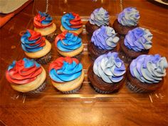 "Transformer ""Good vs. Evil"" swirled color cupcakes"