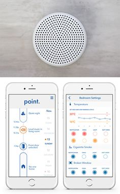 Point Security - Point is a small wireless, wall-mounted home security system that listens to the sounds of your home, senses the indoor environment, and analyzes the air. Through the App, it tracks any changes in your home &  notifies you of things like windows breaking, alarms ringing, or the presence of smoke. A fully funded Kickstarter project.