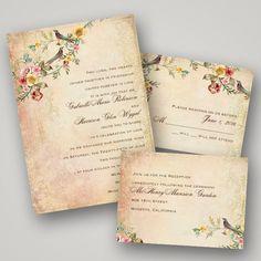 We love the antiqued look of this Vintage Bird Wedding Invitation!