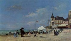 The Beach at Trouville, 1863 by Eugene Boudin. Realism. genre painting. Private Collection