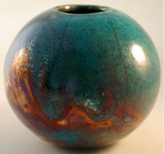 Copper Matte Raku Glaze Recipe | Raku Glaze Recipes | raku slip cast raku fired sphere with turquoise ...