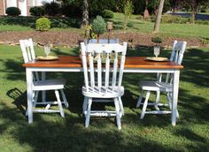 Shabby Chic White Farm Table from Vintage Vision in Hudson, NC. www.facebook.com/vintagevisionstore