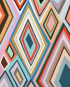 Zigzag no. 2 by Ophelia Pang - A bright and bold diamond pattern. Fun Illustration, Illustrations, Bright Art, Modern Impressionism, Whimsical Art, Diamond Pattern, Zig Zag, Creative Art, Gallery Wall
