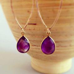 Marquis Hoop Earrings, Purple Amethyst Earrings, Purple stone earrings, purple wedding, purple bridesmaid jewelry, dark purple,Hawaii via Etsy