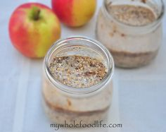 Apple Cinnamon Overnight Oats is the easiest breakfast ever. Make up 5 at a time for healthy breakfast all week long. Vegan and gluten free.