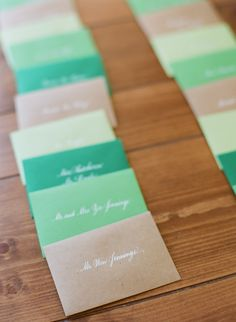 Escort Cards - in colorful little envelopes - See more of this whimsical wedding on SMP here: http://www.StyleMePretty.com/2014/05/22/modern-meets-rustic-in-wyoming/ Photography: CarriePattersonPhotography.com