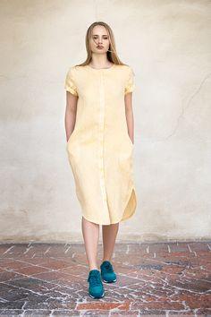 9f3d0ba8cfda Žluté lněné šaty   Zboží prodejce Daya
