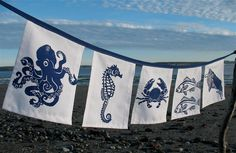NEW  Sea Creatures Flags: Blue on White. $27.00, via Etsy.