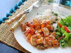 Kycklinggratäng med mango och curry Mango, Bruschetta, Pasta Salad, Curry Recept, Lunch, Dessert, Chicken, Ethnic Recipes, Protein