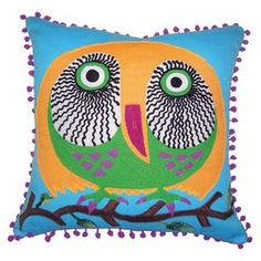 Cotton throw pillow with a perched owl motif. Product: PillowConstruction Material: CottonColor: Turquoise and multiFeatures: Insert includedDimensions: 16 x 16Cleaning and Care: Machine wash