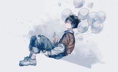 Illustration Art Drawing, Art Drawings, Character Art, Character Design, Blue Anime, Cool Anime Guys, Boy Art, Anime Scenery, Pretty Art
