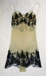 """Vintage Hermine silk """"camiknickers"""" (teddy) with silhouettes of dancing figures, c. 1920s."""