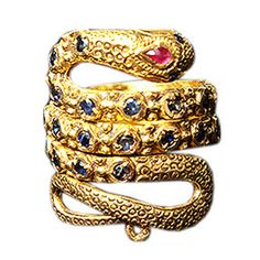 Bejeweled Snake Ring. 19k ruby & sapphire