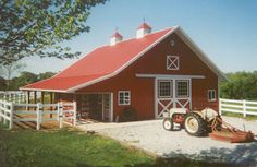 red barn, separate single door and sitting area, paddock entry stalls