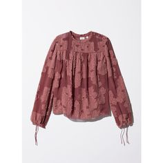 lourdes blouse Aritzia (€44) ❤ liked on Polyvore featuring tops, blouses, red blouse and red top