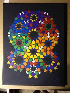 #acrylics #geometric #painting #colorwheel #islamicgeometry #acrylicpainting #fineart