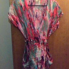 Forever 21 multicolor dress size large Tie back Gently used vibrant colors: red, teal, pink, black, and white. Wrinkled due to storage. Forever 21 Dresses Mini