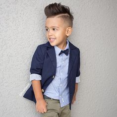 """We this look- our button up shirt with removable bow tie and navy blazer for boys. The perfect look for your boys for Easter! Head over to babies R us…"""