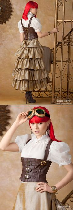 Like Steampunk? Simplicity sewing pattern 1558 includes fitted military-style jacket, Victorian blouse, corset-style belt, skirt with or without hardware pickups, and boot covers.