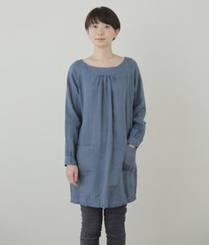 India Tunic: Indigo Stripe, Fog Linen. I like the long sleeves. Can you see it in a V-neck somehow?