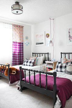 Gorgeous Modern Rustic Farmhouse Kids Bedroom Design, for girls kids to teen!