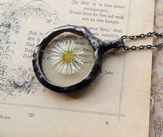 Wish Necklace daisy necklace terrarium necklace by MARIAELA