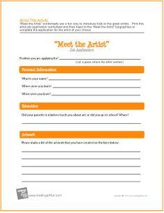 """Meet the Artist"" Job Application | Free Worksheet -http://makingartfun.com/htm/f-maf-printit/artist-employment-application-worksheet.htm"