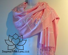 Custom Hand-painted Script Pashmina Script Pink Scarf (Viscose/Acrylic blend) - Made to Order