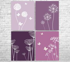 Lavender Wall Art deep purple wall decor for girls room, 8 x 10 bedroom butterfly