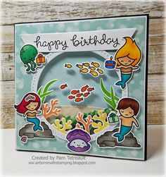 "airbornewife's stamping spot: TupeloDesignsLLC DT Card Project ""HAPPY BIRTHDAY"" Mermaid style ~ using Lawn Fawn Mermaid For You++ More Day 23 #thedailymarker30day color challenge"