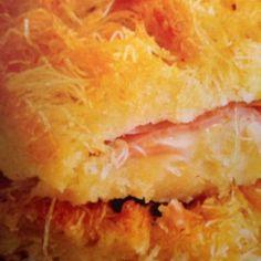 Zamponotyropita (Ham & Cheese pie) with various cheeses and kataifi (shredded fillo dough)