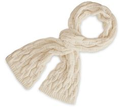 "Hermes scarf with ""Chaine d'Ancre"" knit pattern in chalk. 100% cashmere.  Ref. 148510HB92ME  $2,725.00"