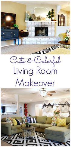 Cute and Colorful Living Room Makeover that is still classy! This fun room makes the house comfortable and cozy!
