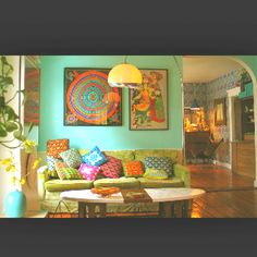Bohemian w a beautiful mint wall color !